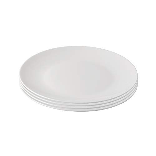 ProCook Malvern Bone China Salad Plates - White - Set of 4 - Plates with Elegant Contemporary Style for Light Meals, Lunches, Starters or Breakfasts