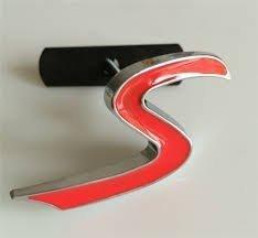 Rotes S-Kühlergrill-Emblem mit Montageset