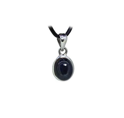 budawi® - kleiner Sternsaphir Anhänger 925er Silberfassung, blauer Saphir Kettenanhänger