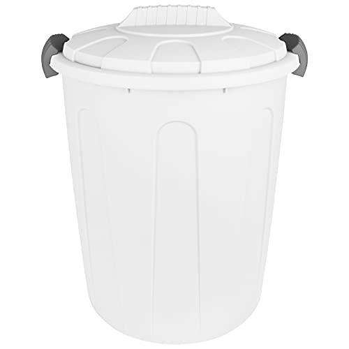 Maxitonne mit Deckel 23L mit Farbwahl Pastell Farben Windeleimer Abfalleimer Kunststoff Mülltonne Abfalltonne Mülleimer Müllsammler (Weiß)