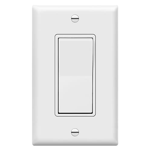 ENERLITES 91150-WWP Decorator On/Off Paddle Switch with Wall Plates, Single Pole, 3 Wire, Grounding Screw, Residential Grade, 15A 120V/277V, UL Listed, White