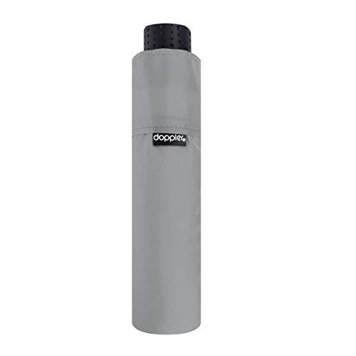doppler Taschenschirm Fiber Havanna Uni – Super leicht – Kompakte Größe – 22 cm – Cool Grey
