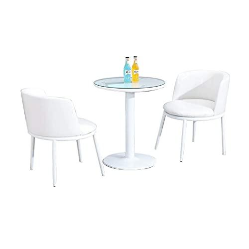 Krzesło kombinowane Kuchnia Jadalnia Krzesła, recepcja Dział sprzedaży Negocjuj sklep z herbatą mleczną Mały okrągły stół Połączenie krzeseł PU (kolor: biały)