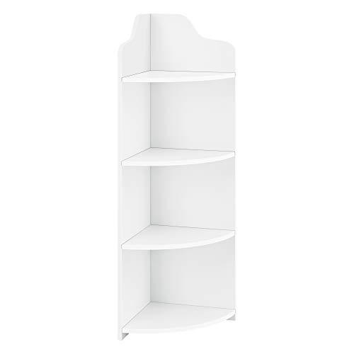 [en.casa] Estantería de Esquina con 4 Estantes Bjurholm 90 x 28 x 28 cm WPC Librería Esquinera con 4 Superficies de Almacenamiento Redondeadas Blanco