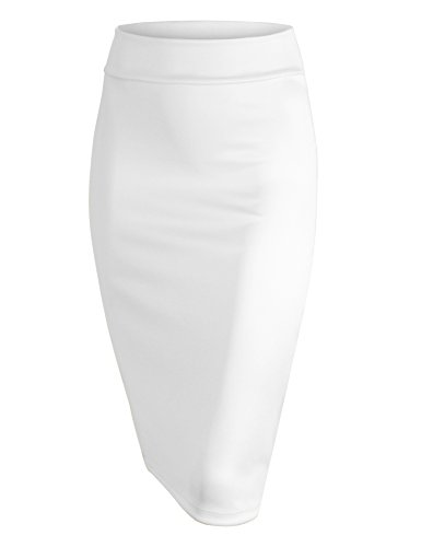 Made By Johnny WB700 Womens Scuba Midi Skirt XL White