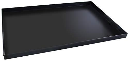 FMprofessional Pizzablech 60x40 cm, eckige from ideal für Pizza, Backblech ist hitzebeständig bis 400°C, rechteckiges Blech mit Emaille Versiegelung (Farbe: Schwarz), Menge: 1 Stück