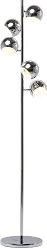 Kare Design Stehleuchte Calotta Chrom 5 Schirme, Moderne Stehlampe mit 5 verstellbaren, Verspiegelten Schirmen, Filigrane, Silberne Lampe für Wohnzimmer, Büro, Stahl verchromt (H/B/T) 200x40x25, 5cm