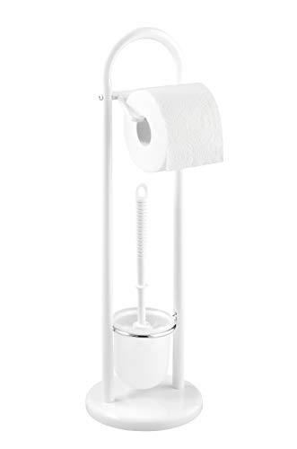 WENKO Stand WC-Garnitur Siena, Ständer für Toilettenpapier & Toilettenbürste, WC-Papierhalter, stehender Rollenhalter inkl. Bürste, Stahl, Ø 19 x 63 cm, weiß