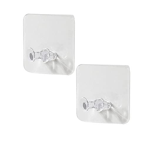 2 ganchos transparentes de almacenamiento de pared para enchufe de alimentación, soporte adhesivo de pared, para oficina en casa