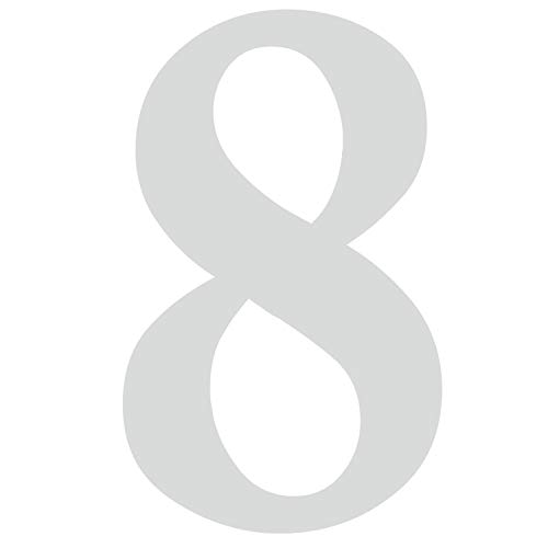 Zahlen-Aufkleber Nr. 8 in silber I Höhe 5 cm I selbstklebende Haus-Nummer, Ziffer zum Aufkleben für Außen, Briefkasten, Tür I wetterfest I kfz_478_8