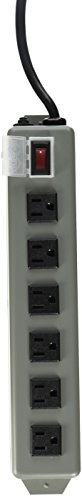 TRIPP LITE UL24RA-15 Waber Industrial Power Strip 6 Right-Angle Outlets 15' Cord, Locking Switch Cover Black