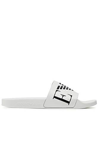 Emporio Armani Swimwear Slipper Monogram, Sandalia Slide para Hombre, White+Black+White, 42 EU