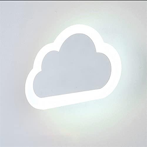 Apliques de pared LED para niños 10W para dormitorio - Pantalla de acrílico Decoración de nube blanca Accesorio de iluminación - Dibujos animados de metal Niños Iluminación de cabecera Habitación de n