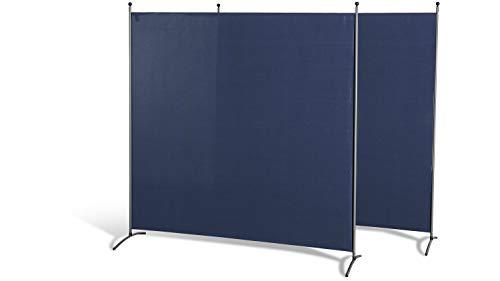 GRASEKAMP Qualität seit 1972 Doppelpack Stellwand 180x180 cm - blau - Paravent Raumteiler Trennwand Sichtschutz