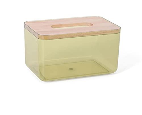 Inicio Caja de almacenamiento de tejidos de escritorio Transparente a prueba de polvo Dispensador de toallitas húmedas Servilletero Estuche de almacenamiento para oficina en casa Car-S amarillo, Chi