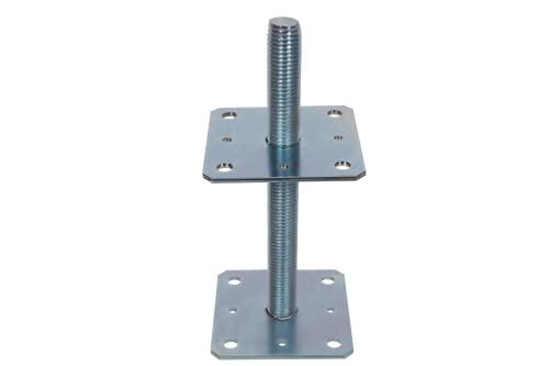 NAJDER Pfostenträger 110x110 mm Höhenverstellbar 250 mm Regulierbar Gewinde M24 mm Bodenfuß Silber Verzinkt Höhenverstellbar Betonfuß Zum Aufschrauben Stützenfuß (110x110x250 mm)