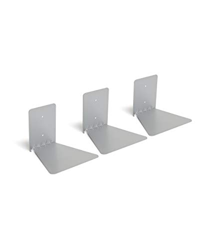 Umbra Conceal Floating Bookshelf, Large, Silver, Set of 3
