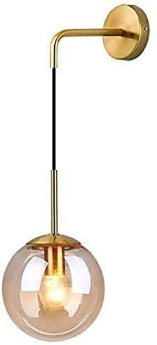 BINHC Lámpara de Techo de Araña, Industrial Vintage 20Cm Globo de Vidrio Lámpara de Pared Colgante Dormitorio Pasillo Aplique Luz Retro Esfera de Vidrio Transparente,Ámbar