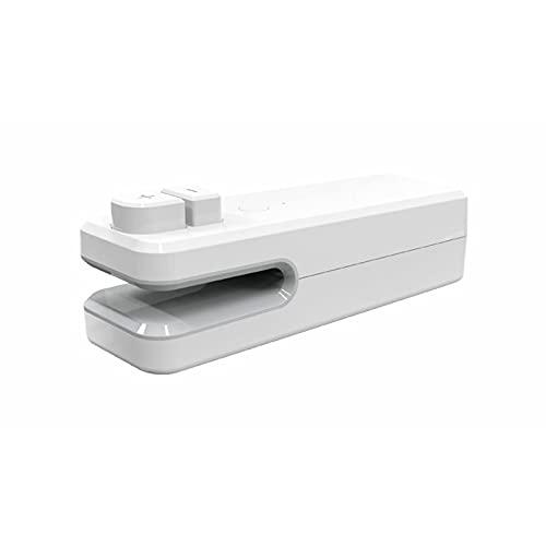 Máquina de sellado, 2 en 1 sellador portátil práctico sello de alimentos bocadillos accesorios de cocina sellador de calor instantáneo USB carga verduras bolsas selladores al vacío blanco