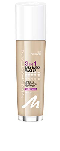 Manhattan 3in1 Easy Match Make Up, ölfreie Foundation für einen makellosen Teint, Farbe 30.2 porcelain, 30ml