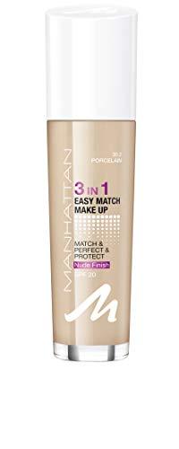 Manhattan 3in1 Easy Match Make Up, ölfreie Foundation für einen makellosen Teint, Farbe 30.2 porcelain, 30ml