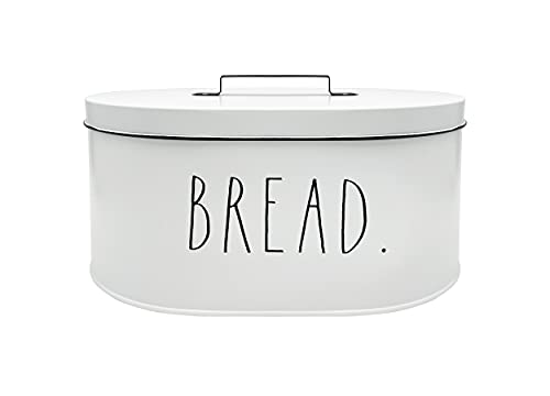 Rae Dunn Bread Box - Bread Box for Kitchen Countertop - 15' x 8' x 10' - Rustic White Metal Vintage Farmhouse Breadbox - Counter Storage Container for Fresh Homemade Loaf, Bagels, Cookies