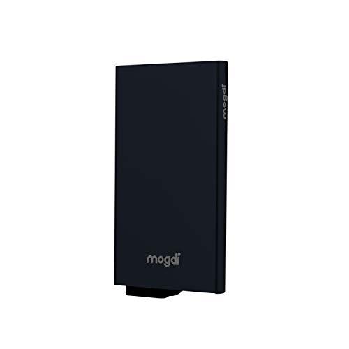 Premium Herren Portmonee RFID Schutz Kartenetui Business Geldbörse feinstes A++ Echtleder mogdi Nano Mini Duo Wallet Geldbeutel (schwarz, Kartenetui)