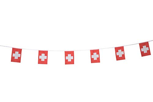 XCFH 114Pcs Switzerland Flag 150Feet Swiss Pennant String Banner Buntings Festival Bar Sports Clubs Grand Opening Party Holiday Decoration