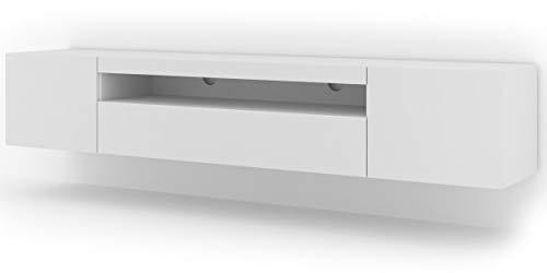 Lowboard TV Schrank Aura 200 cm Hängend oder Stehen universal Unterschrank Fernsehschrank TV Board Sideboard HiFi-Tisch Hängender Schrank (Weiße Matte ohne LED)