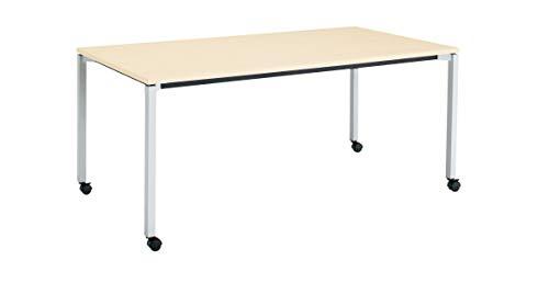 コクヨ ミーティングテーブル JUTO MT-JTK189S81M10-CN 角形天板 4本脚 角脚 スクエアコーナー 幅180×奥行90cm 天板ホワイトナチュラル/脚フラットシルバー キャスター付