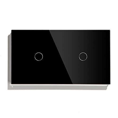 NGHSDO Interruptor Tactil 2 Interruptor táctil de pandillas 157 mm 1 vía 2 vía Interruptor de luz Blanco Negro Negro Clase de Panel Interruptor Impermeable Interruptor Interruptor Inteligente