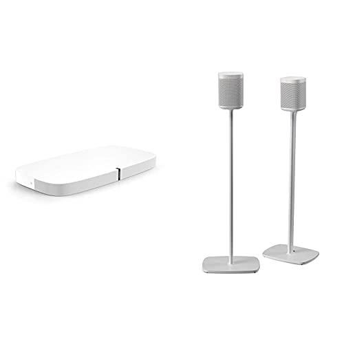 Sonos Playbase WLAN Soundbase, weiß – Fernsehlautsprecher mit kraftvollem Sound für Heimkino & Musikstreaming & Flexson Bodenständer für Sonos One, One SL und Play:1, Paar weiß