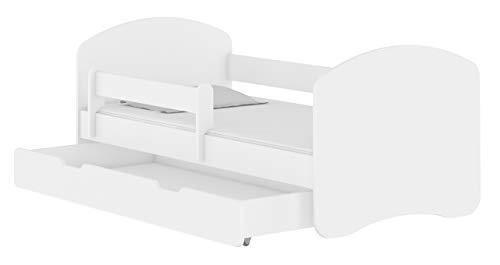 ACMA TODDLER CHILDREN KIDS BED + FREE MATTRESS DRAWER II WHITE (White, 140x70 cm + drawer)