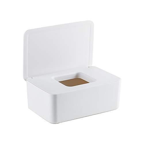 Magiin Caja para Toallitas Húmedas con Tapa Sello, Fácil Abierta y Cerrar Limpie Contenedor para Escritorio Hogar, 19 * 12.3 * 7cm, (Blanco)