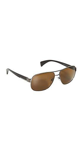 Prada Men's Aviator Polarized Sunglasses, Gunmetal/Polar Brown, One Size