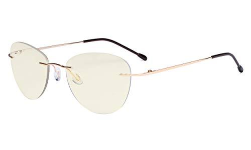 Eyekepper Randlose Gleitsichtbrille Multifokus Lesebrille Blaulichtfilter Damen Pilot Lesebrill,Gold +3.50