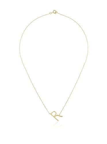 Córdoba Jewels | Gargantilla en Plata de Ley 925 bañada en Oro. Colgante: 15 x 12 mm. Diseño Letra R Oro