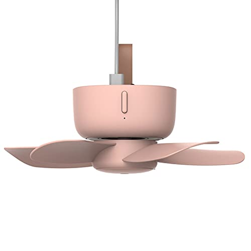 Elektrischer Mini-Ventilator mit Fernbedienung, für Studenten, Schlafsaal, Bett, zum Aufhängen, Moskitonetz, Mikro-Ventilator, ultra-leise, USB-Deckenventilator, Haushalt (Farbe: Rosa)