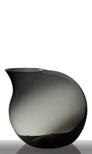 INNA-Glas Blumenvase Tropfenform Isadora, Kugel - Rund, grau, 37cm, Ø 39cm - Glasvase - Deko vase