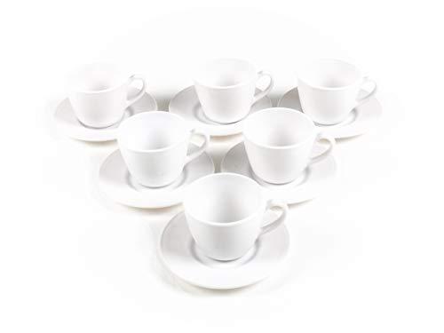 Bubble-Store 6er Kaffeetassen Teetassen Set, Tasse mit Untertasse, Porzellan, 6-teilig, weiß