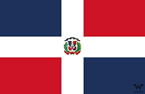 WHATABUS Dominikańska flaga naklejka - flaga kraju jako naklejka 8,5 x 5,5 cm