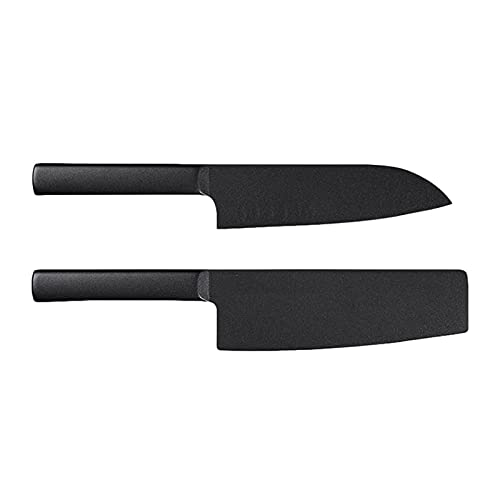 Xizdth 2 unids Cuchillo Antiadherente Acero Inoxidable Fresco Cuchillo de Cocina Negro 7 Pulgadas 307 mm Cuchillo de Corte de 298mm Cuchillo de Chef (Color : XM YP 679)
