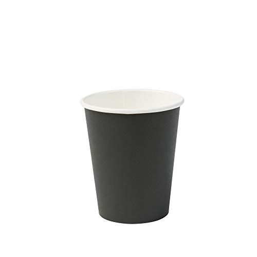 BIOZOYG Bicchiere di Carta Biologico Bicchiere monouso Bicchiere di Carta Bicchiere compostabile e biodegradabile I Bicchieri Nero, Non Stampati, Eco-compatibili 50 Pezzi 200ml 8 OC