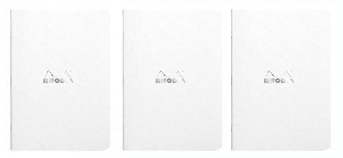 Rhodia Notizbücher mit Heftklammerbindung, Weiß, 15,2 x 20,3 cm, 3 Stück