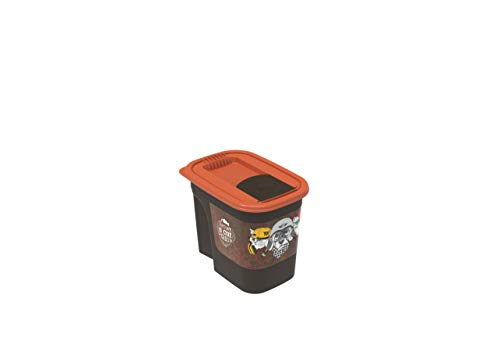 "Rotho Flo Tierfutterbehälter 2.2 l , Kunststoff (PP), braun/orange mit Motiv \"" PET Vintage Mix\""  , 2.2 Liter (19,5 x 13,6 x 16,2 cm)"