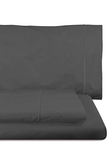 Home Royal - Juego de sábanas Compuesto por encimera, 250 x 285 cm, Bajera Ajustable, 158 x 200 cm, 2 Fundas para Almohada, 45 x 85 cm, Color Grafito