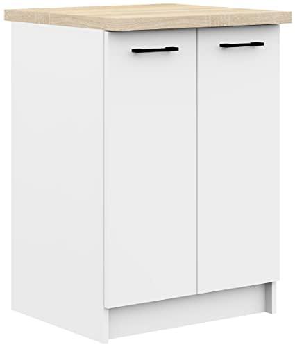 ADGO Oliwia - Armario de cocina con superficie de trabajo, encimera, encimera, armario de pie, armario bajo estanterías, armario de cocina empotrable, armario de cocina, tiradores negro/blanco (S60)