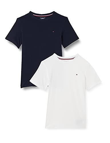 Tommy Hilfiger Jungen 2p Cn Tee Ss Schlafanzugoberteil, Blau ((Navy Blazer/White 0xt), 14-16 (XL)