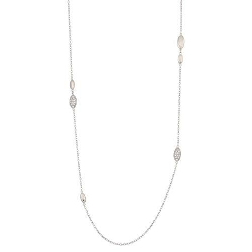 Gioiello Italiano - Collana lunga in oro bianco con zirconi
