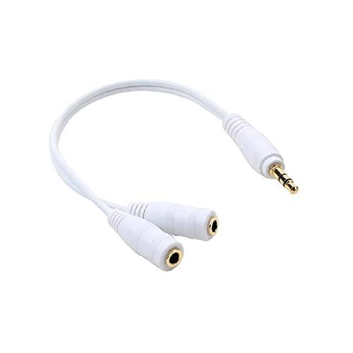 nJiaMe Jack estéreo de 3,5 mm Conectores Adaptador de Enchufe Divisor Y Cable de Audio para Altavoces Reproductor de mp3 Blanca